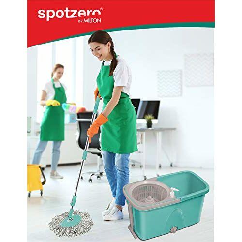 Spotzero By Milton Classic Mop with Wheels (Aqua Green, 2 Refills)