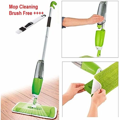 Zonku Stainless Steel Microfiber Floor Cleaning Spray Mop with Removable Washable Cleaning Pad and Integrated Water Spray Mechanism, mop for Cleaning Floor, 360