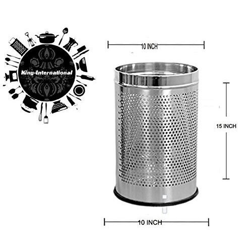 King International Stainless Steel Perforated Open Dustbin (11 Litre, 10 X 15, Silver)