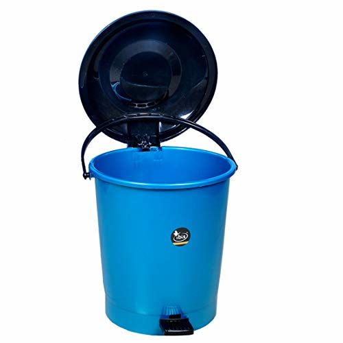 IBIS 12 litre Plastic Garbage pedal Dustbin With Handle And 1500 ml Storage Containers For Home (Blue - Black)