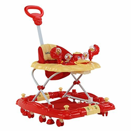 LuvLap Comfy Baby Walker & Rocker, Height Adjustable with Light & Musical Toys, 6m+ (Red)