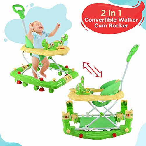LuvLap Comfy Baby Walker & Rocker, Height Adjustable with Light & Musical Toys, 6m+ (Green)
