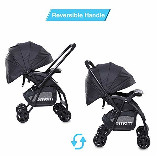 DOTMOM Uber Flyer Reversible Baby Stroller with Diaper Storage Bag and Mosquito Net, One-Hand Folding Pram for Newborn Babies, Kids and Infants - Black