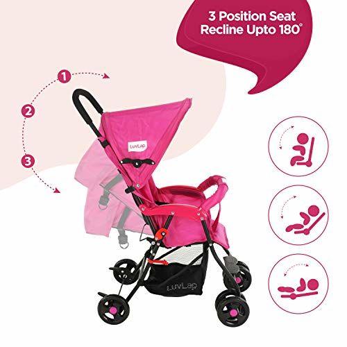 LuvLap Apollo Stroller/Pram, Easy Fold, for Newborn Baby/Kids, 0-3 Years (Pink)