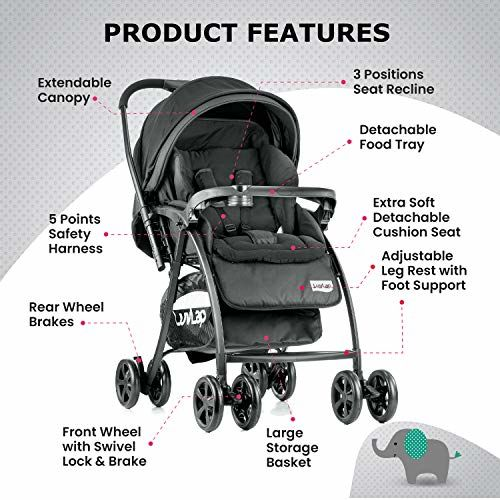 LuvLap Grand chicco double Stroller Easy Fold for Newborn Baby