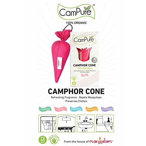 MANGALAM CamPure Camphor Cone, 45 Days Scent as Room Freshener with Mosquito Repellent Properties (Rose) -2 Pack