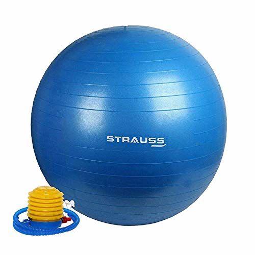 Strauss Anti Burst Gym Ball with Foot Pump, 75 Cm, (Blue)