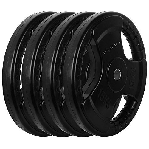 Kobo 7.5 Kg (31 mm) Fitness Rubber Coated Tri-Grip Plate & Integrated Metal Grip Rubber Weight Plates - Sold in Pairs (7.5 Kg x 2 = 15 Kg)(Imported)