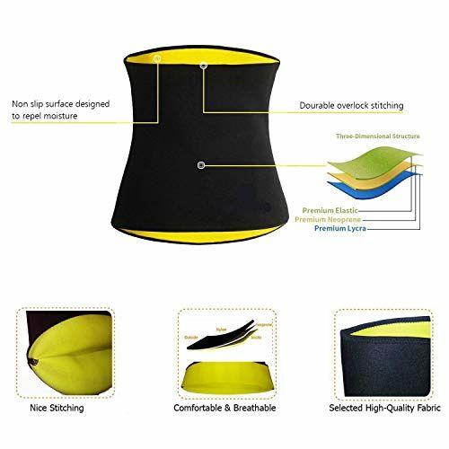 DAZIBAO Shaper Belt Non-Tearable Tummy Trimmer Slimming Belt for Men and Women (Size Medium)(Black)