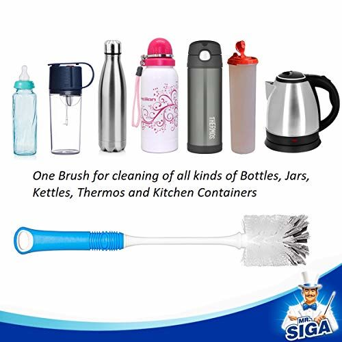 MR. SIGA Long Handle Plastic Bottle Cleaning Brush (Blue)
