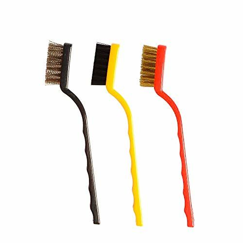 KetZeal Plastic Cleaning Tool Kit Wire Brushes with Brass, Nylon, Stainless Steel Bristles (Set of 3)