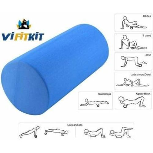 VIFITKIT Fitness Massage Foam Roller for Deep Tissue Muscle Massage, Trigger Point Therapy, Exercise, and Workout. (Color may vary, Size: 12*4 inches) )