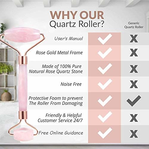 SYNATY Jade Roller Facial Massager Natural Rose Quartz Massage Stone Anti Aging Manual Massage Tool For Face Eye Neck Foot Massage Treatment Therapy Roller