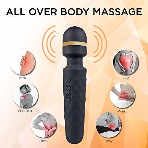 WellNEX Black Handheld Personal Body Massager | Wand Massager for Woman and Men | Bendable Neck | Quiet & Powerful Motor | Portable Vibrator & Waterproof Design