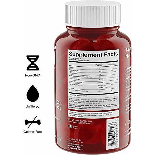 Goli World's First Apple Cider Vinegar Gummy Vitamins (60 Count)