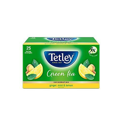 Tetley Green Tea Bags, Ginger Mint Lemon, 25 Tea Bags