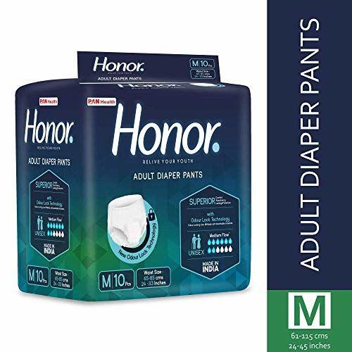 Honor Adult Diaper Pants, Medium - 10 Count (61-115 Cms |24-45 Inches)