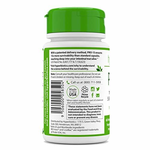 Hyperbiotics Pro-15 Best Probiotic Supplement - 60 Once Daily Time Release Pearls