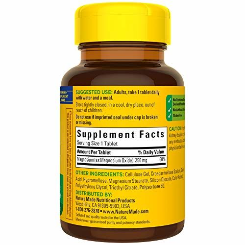Nature Made Magnesium Tablets, 250mg (1269) - Set of 100