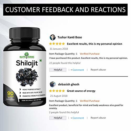 Nutriherbs Shilajeet Extracts 800 mg 90 Capsules, Shilajit (Pack of 1)
