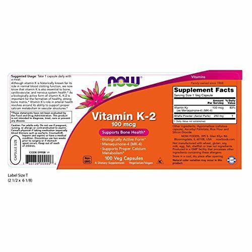 Now Foods Vit K-2 Veg Capsules - 100 Count
