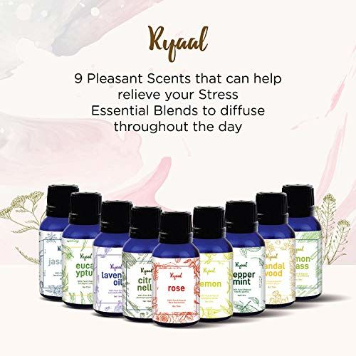 Ryaal Essential Oil Gift Set 9 In One Aroma Oil Pack For Diffusers Therapeutic Grade - 15 Ml Each