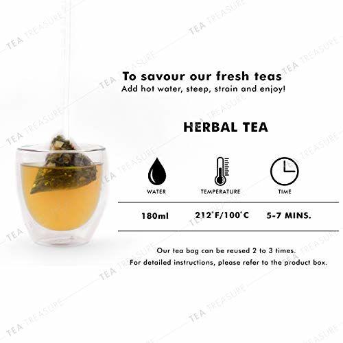 TeaTreasure USDA Organic Peppermint Herbal Tea for Weight Loss - Antioxidants Rich Refreshing Tea - 1 Teabox ( 18 Pyramid Tea Bags )