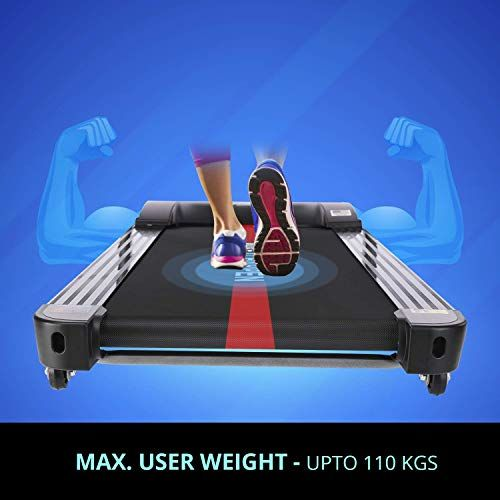 Welcare MAXPRO PTM405 2HP(4 HP Peak) Folding Treadmill, Electric Motorized Power Fitness Running Machine with LCD Display and Mobile Phone Holder Perfect for