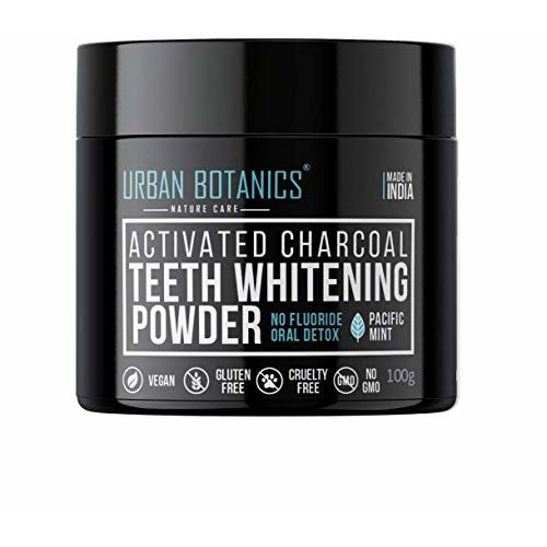 UrbanBotanics Activated Charcoal Teeth Whitening Powder - Enamel Safe Teeth Whitener - Suitable for Sensitive teeth - 100g (Mint Flavor)