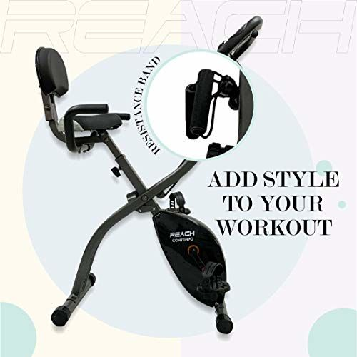 Reach Contempo Foldable Exercise Cycle for Home Gym | Exercise Bike with Back Support Seat and Resistance Rope (Contempo)