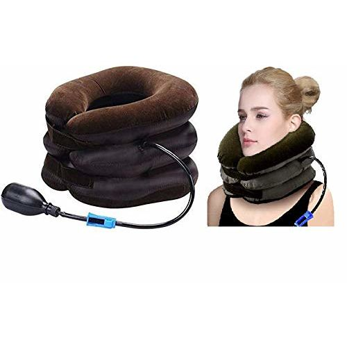 Suhav Cervical Neck Traction Device Effective and Fast Relief Neck Pain Inflatable Neck Stretcher Collar Device.