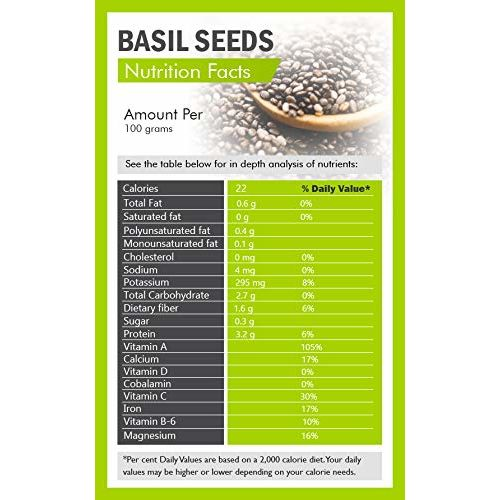 Exotica Fresh Basil Seeds, Tukmariya Seeds, Sabja Seeds | Falooda Seeds use for Natural Weight Loss ( 400 Grams )