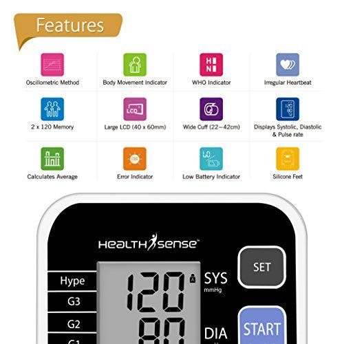 HealthSense Heart Mate Classic BP120 Digital Blood Pressure Monitor (Grey)