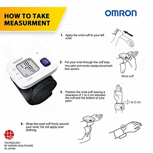 Omron HEM 6161 Fully Automatic Wrist Blood Pressure Monitor with Intellisense Technology, Cuff Wrapping Guide and Irregular Heartbeat Detection for Most