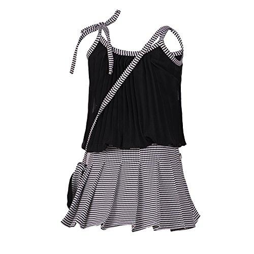 Aarika Black Georgette Self Design Top and Skirt
