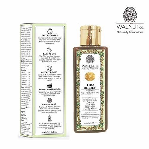 WALNUT co Tru Relief Pain Oil - Indias 1st Premium Walnut Based Formulation for Body, Back, Arthritis, Knee, Joints and Muscles - 100 ml