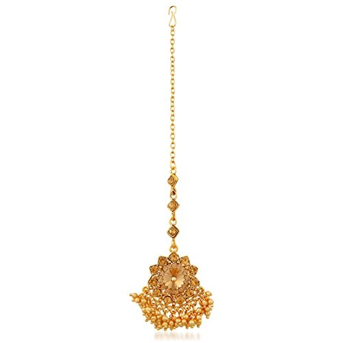 Apara Bridal Gold Plated Pearl LCT Stones Necklace Jewellery Set