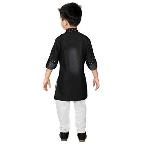 Kashvi Black Cotton Roll Up Sleeve Kurta pyjama