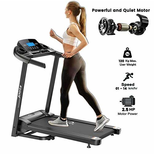 Dolphy Folding Treadmill with Safe Handlebar, LCD Display and MP3 USB Port Electric (2.5HP) Motorized Running Machine for Home Running Jogging Fitness USE