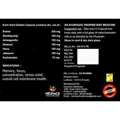 Neuhack Brain Booster Supplement with Bacopa(Brahmi), Ashwagandha, Shatavari, Vacha, Jatamansi, Kushmandam and Shankhpushpi - 100 capsules of Ayurvedic Memory