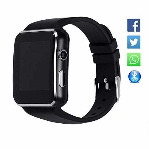 Jiyatech X6 Bluetooth Smart Watch Featured with Sim Card Slot | Touch Screen | Compatible with All 2G, 3G, 4G Phone | Camera Activity Trackers | Fitness Band | (Black)