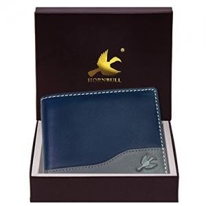 Hornbull  Navy Blue Bi Fold Genuine Leather Wallet