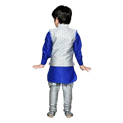 AJ Dezines Silk Cotton Kurta Pyjama Waistcoat Set for Boys