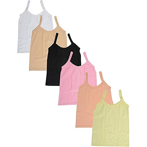 Fasla Multicolored Pure Cotton Plain Slip for Girls Pack of 6