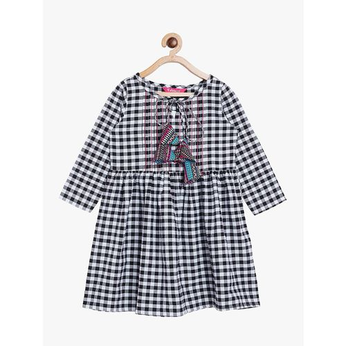 FABNEST tie up neck check printed frock
