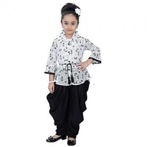 Indian Evergreen Rayon Kurti Patiyala Dhoti Suit Dress For Girls