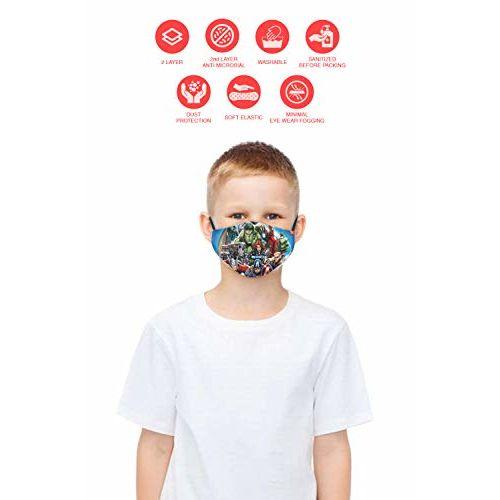 Bon Organik Mega Marvel (OFFICIAL MERCHANDISE) 2 Ply Printed Cotton Cloth Face Mask Bundle For Kids (Set Of 3) (4-8Y)