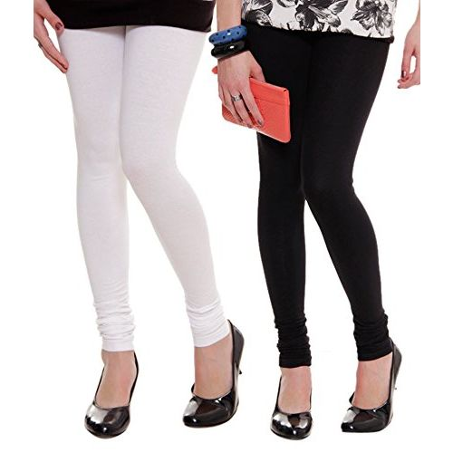 Lux lyra Women's Cotton Leggings (W~10/b~11, Black/White, Free Size) - Pack Of 2