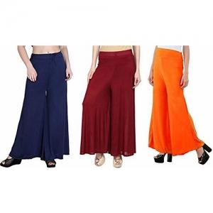 Aglobi BrandedWomen's Sareena Malai Lycra Free Size Palazzo Pants for Women Combo (Pack of 3) (NavyBlue,Orange,Blue)