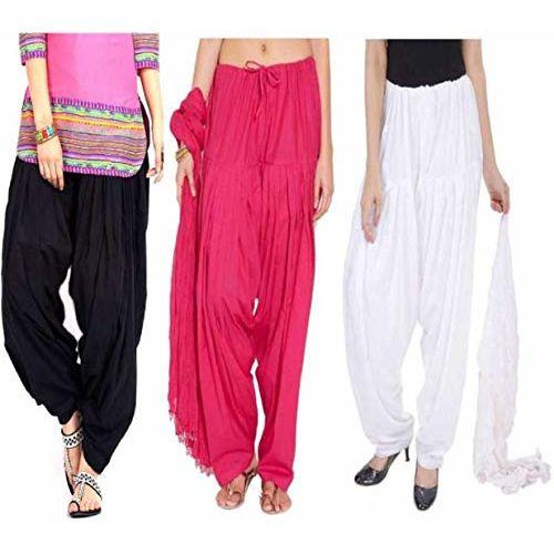 Shri Hub Cotton patiala salwar (Black/Pink/White)